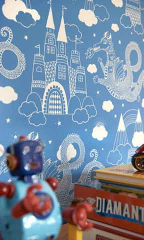 Dragon Sky - Dark Blue kids wallpaper