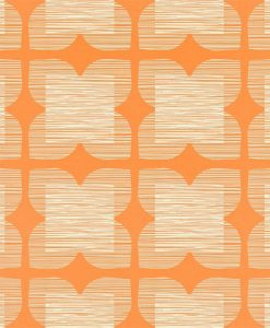 Flower Tile - Orla Kiely Wallpaper - Clementine