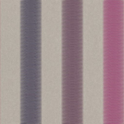 Tambo striped wallpaper - Indigo, Flamingo and Loganberry