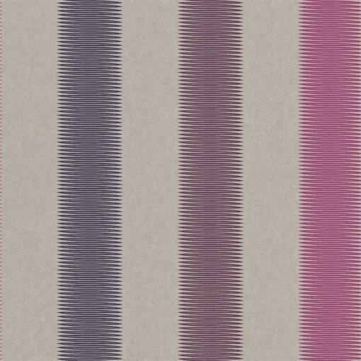 Tambo striped wallpaper - Indigo, Flamingo and Loganberry
