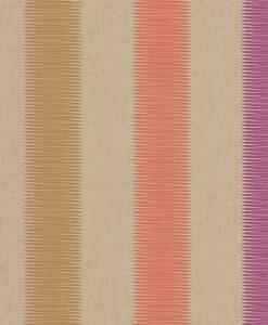Tambo striped wallpaper - Papaya, Mustard and Loganberry