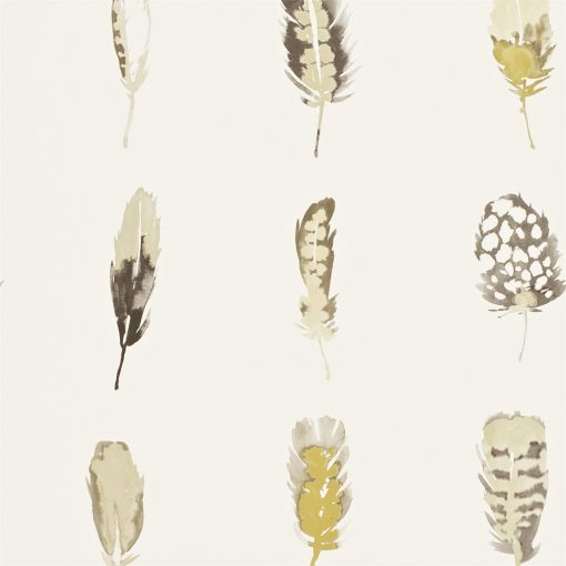 Limosa feather wallpaper - Mustard, charcoal and stone
