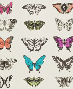 Papilio wallpaper - Flamingo, Papaya and Olive
