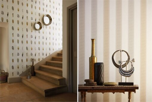 Tambo striped wallpaper and Limosa feather wallpaper