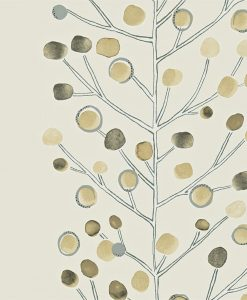 Berry Tree wallpaper in Cream, Storm and Hessian. Part of the Melinki Collection by Scio