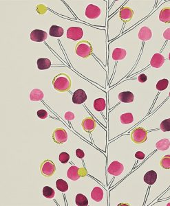 Berry Tree wallpaper in Min, Plum, Berry and Lime. Part of the Melinki Collection by Scio