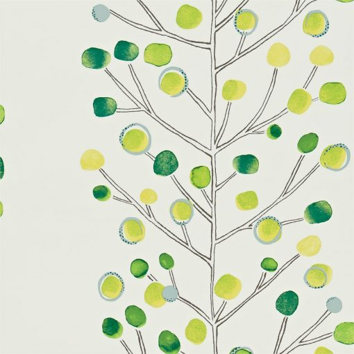 Berry Tree wallpaper in Emerald, Lime and Chalk. Part of the Melinki Collection by Scio