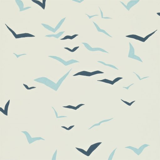 Flight wallpaper in Powder Blue, Chalk and Indigo. Part of the Melinki Collection by Scio