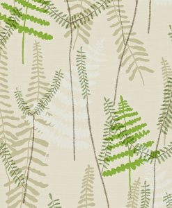 Athyrium wallpaper in Hessian, Apple and Pebble. Part of the Melinki Collection by Scio