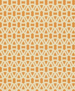 Lace wallpaper in Tangerine and Neutral. Part of the Melinki Collection by Scio