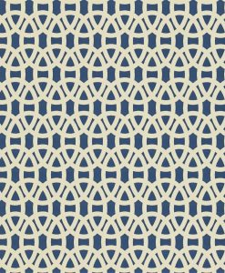 Lace wallpaper in Indigo and Linen. Part of the Melinki Collection by Scio
