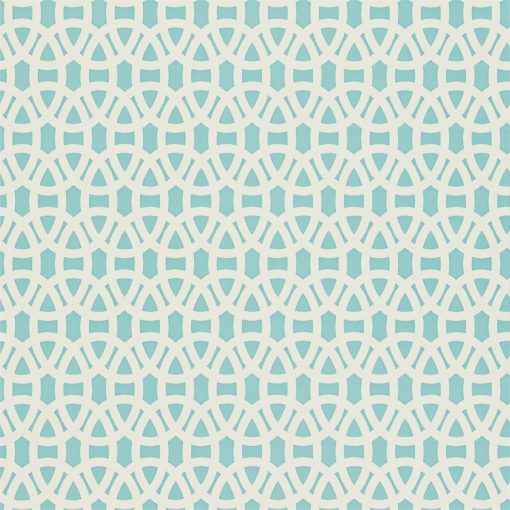 Lace wallpaper in Powder Blue and Chalk. Part of the Melinki Collection by Scio