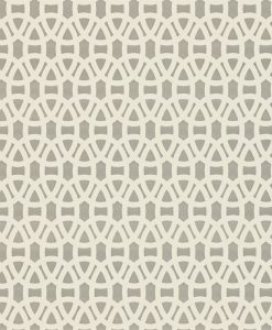 Lace wallpaper in Steel and Chalk. Part of the Melinki Collection by Scio