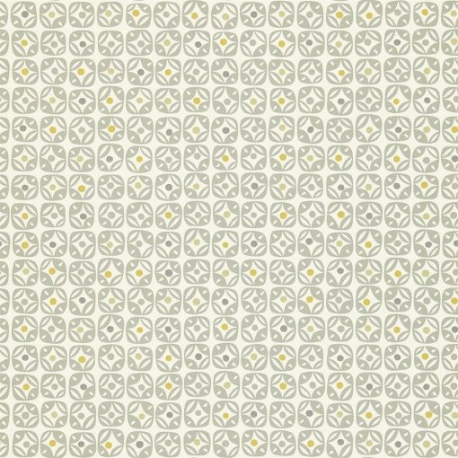 Miro wallpaper in Steel, Chalk and Mustard. Part of the Melinki Collection by Scio