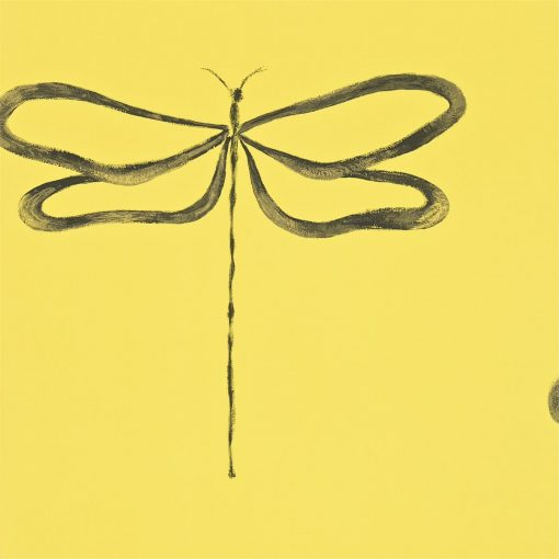 Dragonfly wallpaper, part of the Melinki Collection by Scion - Sunflower, Charcoal & Gilver