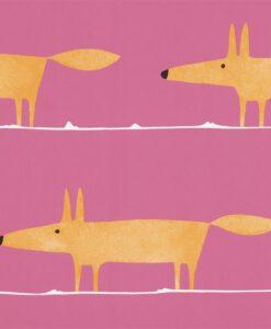 Mr Fox wallpaper in Fuchsia