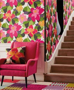 Diva wallpaper by Scion in Peony/Sunset