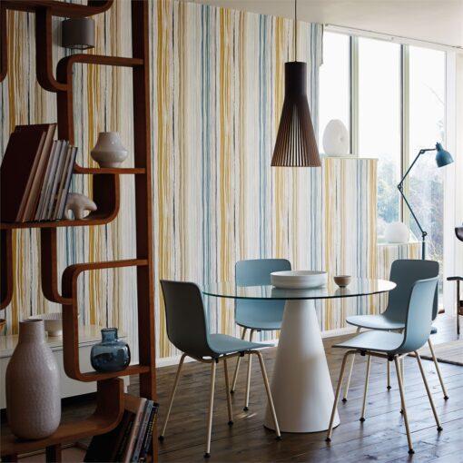 Zing wallpaper by Scion in Denim/Ochre/Slate