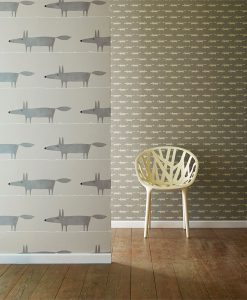 Mr Fox and Little Fox wallpaper in silver