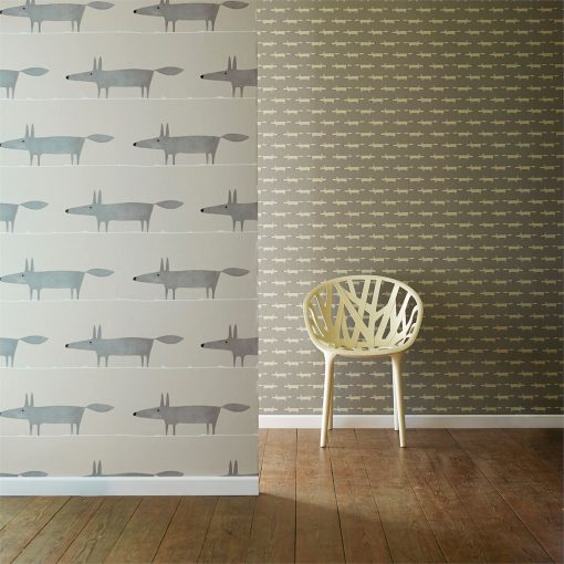 Mr Fox and Little Fox wallpaper in silver