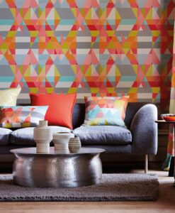 Axis wallpaper by Scion in Lime/Peony/Sunset