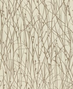 Grasses wallpaper from the Kallianthi Collection by Harlequin, in Pebble and Rose Gold