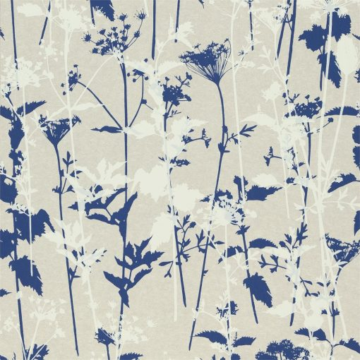 Nettles wallpaper from the Kallianthi Collection by Harlequin, in Natural, White and Indigo