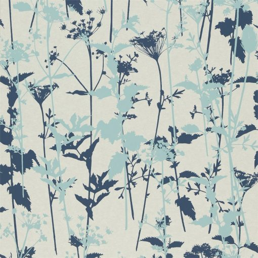 Nettles wallpaper from the Kallianthi Collection by Harlequin, in Pearl, Duck Egg and Ink