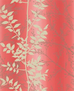 Persphone wallpaper from the Kallianthi Collection by Harlequin, in Coral, Honeycomb and Pewter