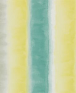Demeter Stripe wallpaper from the Kallianthi Collection by Harlequin, in Quince, Teal and Pebble