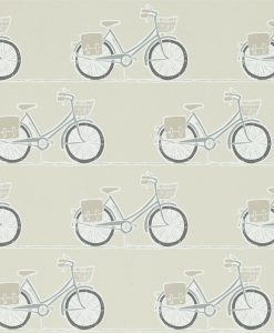 Cykel wallpaper from the Levande Collection by Scion in Pumice, Pewter and Slate