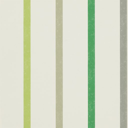 Hoppa Stripe wallpaper from the Levande Collection by Scion in Apple, Ivy and Slate