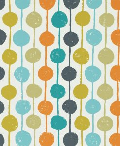 Taimi wallpaper from the Levande Collection by Scion in Sulphur, Tangerine and Kingfisher