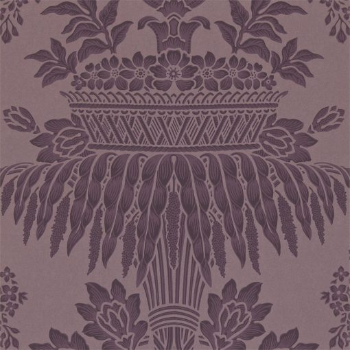Long Gallery damask wallpaper by Zophany in Aubergine