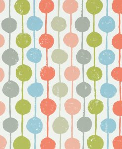 Taimi wallpaper from the Levande Collection by Scion in Poppy, Kiwi and Charcoal