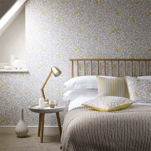Larksong Wallpaper in a Bedroom