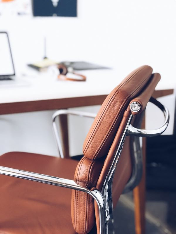 Comfortable brown leather office chair