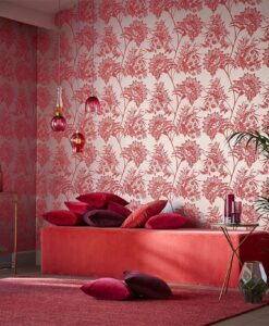 Bavero Wallpaper from the Zapara Collection by Harlequin in Coral