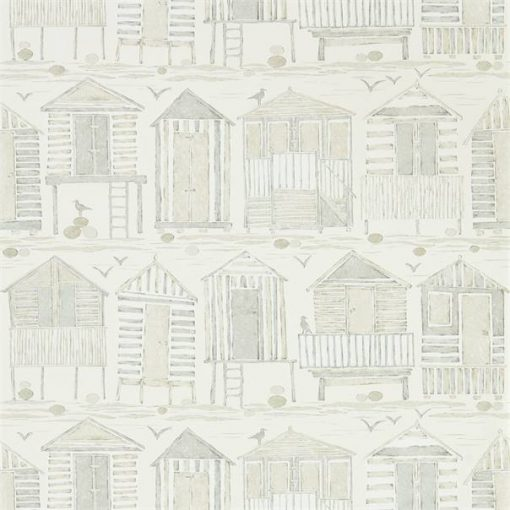 Beach Huts Wallpaper in Driftwood
