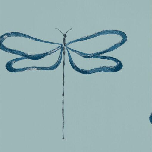 Japandi Dragonfly wallpaper in Marine