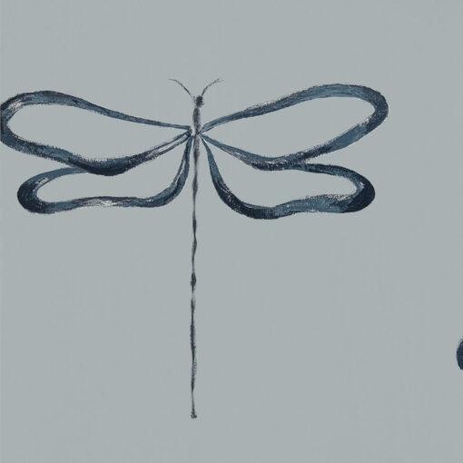 Japandi Dragonfly wallpaper in Liquorice