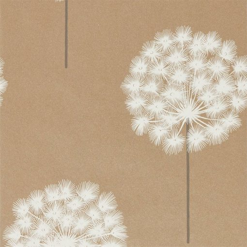 Amity wallpaper from the Paloma Collection in Brass and Pewter