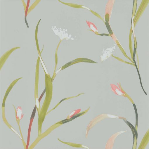 Sanoa Wallpaper from the Zapara Collection in Coral and Silver