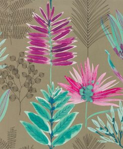 Yasuni Wallpaper from the Zapara Collection in Lagoon and Cerise
