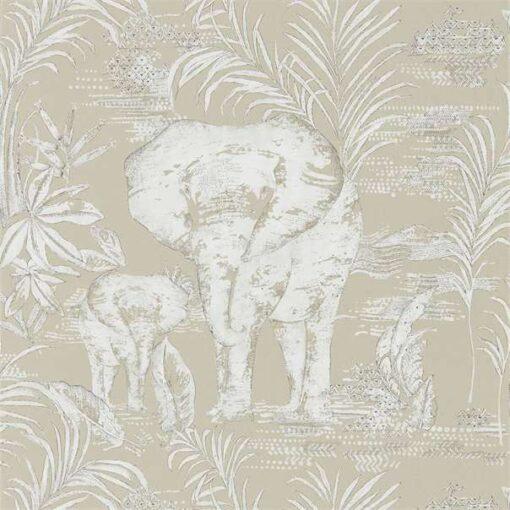 Kinabalu elephant wallpaper in Linen