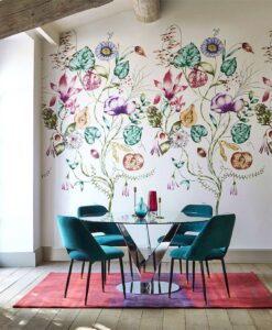 Quintessence wallpaper from the Zapara Collection in Lagoon and Cerise
