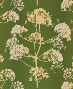 Angeliki Wallpaper from the Callista Collection by Harlequin Wallpaper in Emerald & Gold
