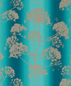 Angeliki Wallpaper from the Callista Collection by Harlequin Wallpaper in Ocean & Gilver