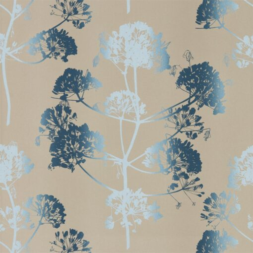 Angeliki Wallpaper from the Callista Collection by Harlequin Wallpaper in Indigo & Pewter