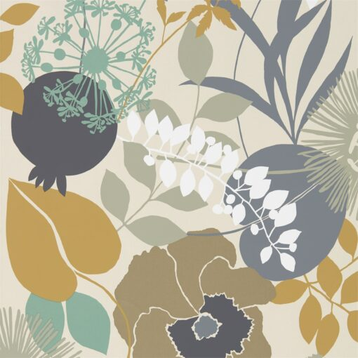 Doyenne Wallpaper from the Standing Ovation Collection by Harlequin in Ochre, Stone & Mint